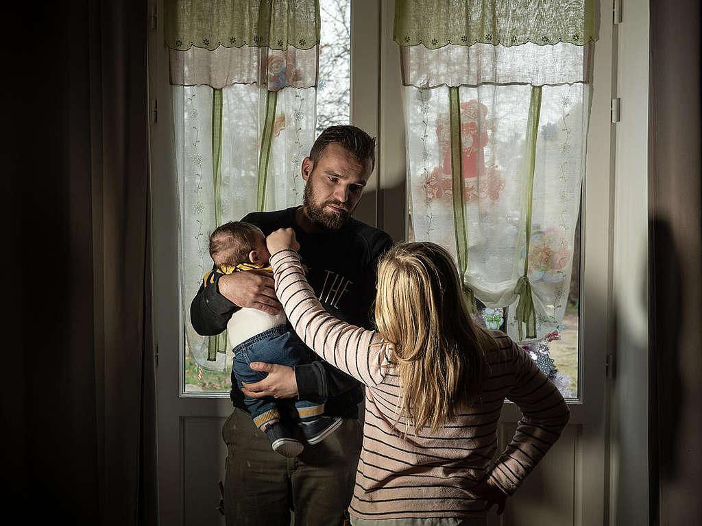 Family Living near Factory Farm in Lescout, France. © Greenpeace / Wildlight / Selene Magnolia