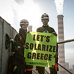 Action at Agios Dimitrios Power Station in Greece. © Will Rose