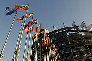 European Parliament at Louise Weiss in France. © Greenpeace / Pierre Gleizes