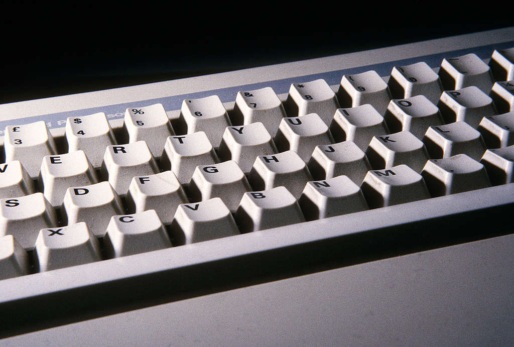 Computer keyboard - ozone depleting CFCs are used in their manufacture, UK. © Greenpeace / Julian Germain