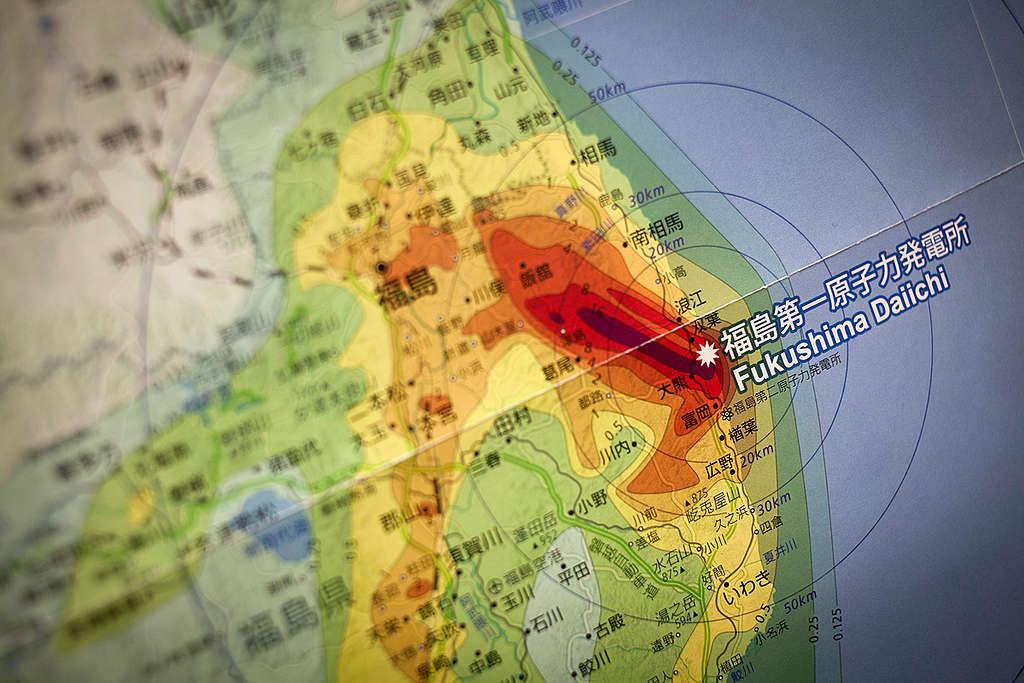Fukushima Map. © Daniel Müller / Greenpeace
