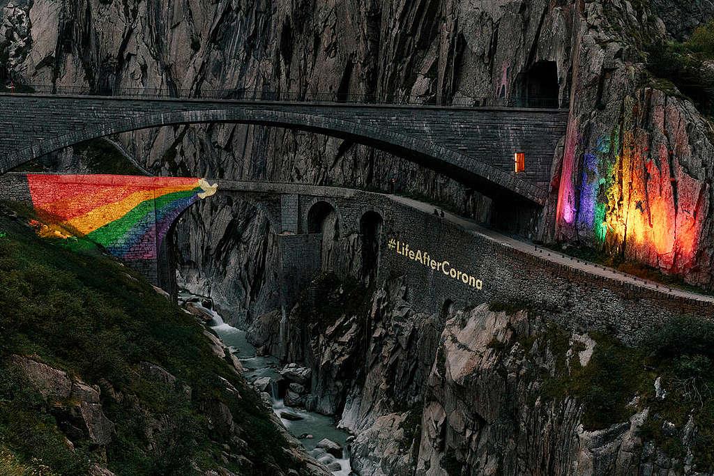 Life after Corona Starts at the Devil's Bridge in Switzerland. © Greenpeace / Joël Hunn