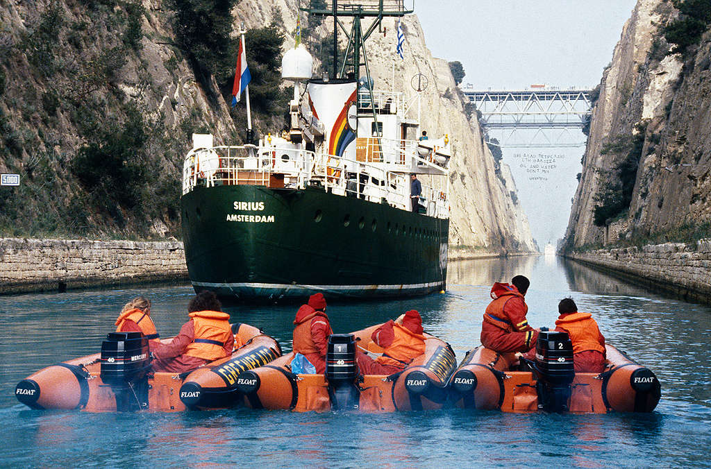 Protest against Oil Pollution in Greece. © Greenpeace / Saris
