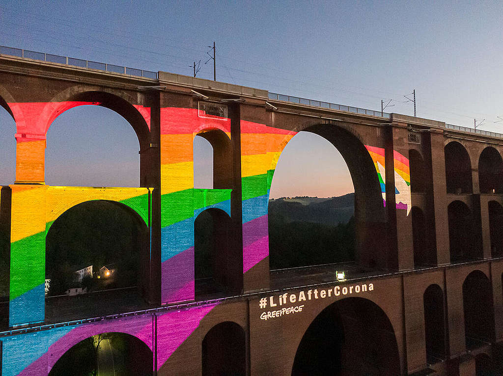 Rainbow Projection at Göltzsch Viaduct in Saxony (Aerial). © Greenpeace