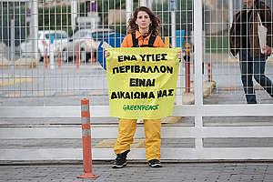 Climate Crisis Action at HELPE Refinery in Aspropyrgos, Greece. © Nikos Thomas / Greenpeace