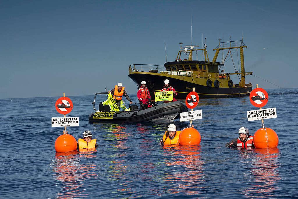 Aegean Sea Bottom Trawlers Action. © Greenpeace