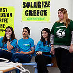 Solar Installation and Training in Greece. © Greenpeace