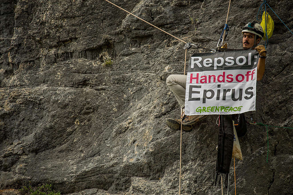 Banner Action against Oil Exploration in Epirus. © Constantinos Stathias / Greenpeace