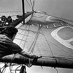 Dave Birmingham Raises Greenpeace Sail on Phyllis Cormack. © Greenpeace / Robert Keziere