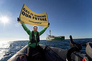 Arctic Sunrise in the Adriatic Against Fossil Gas. © Gregor Gobec / Greenpeace