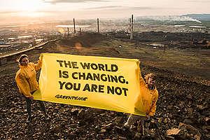 Banner in Norilsk, Russia. © Greenpeace / Dmitry Sharomov