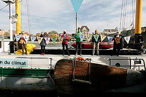 Climate Seniors on MV Beluga in Basel (Travelling to Strasbourg). © Greenpeace / Joël Hunn