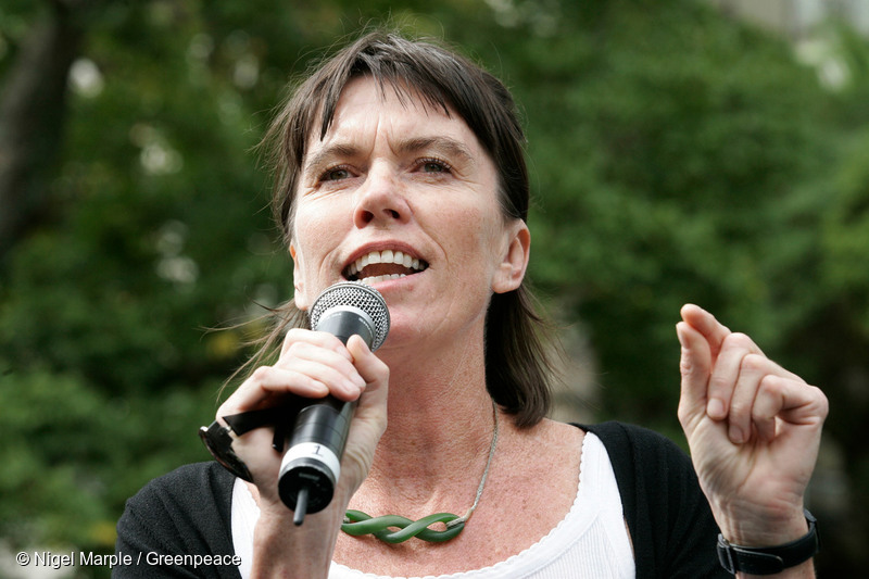 Greenpeace New Zealand's Executive Director Bunny McDiarmid speaks to a large crowd of over 40,000 people after marching against the New Zealand Government's plans to mine thousands of hectares of prime conservation land, including National Parks, May 1st 2010.