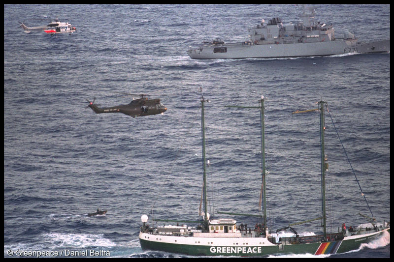 On 1 September 1995, armed French commandos in military helicopters and inflatable boats once again stormed and seized SV Rainbow Warrior II as it sailed into the lagoon at Moruroa, but this time they also boarded and seized MV Greenpeace