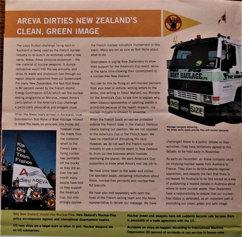 28 August 2002 Greenpeace welcomes the America's Cup French Team to NZ but says the major team sponsor nuclear company Areva is not welcome