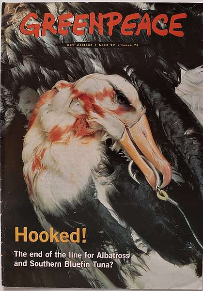 June 1997 Greenpeace reveals the scale of albatross slaughter in tuna fisheries by presenting photos at a Christchurch conference. Photo shows cover of Greenpeace magazine