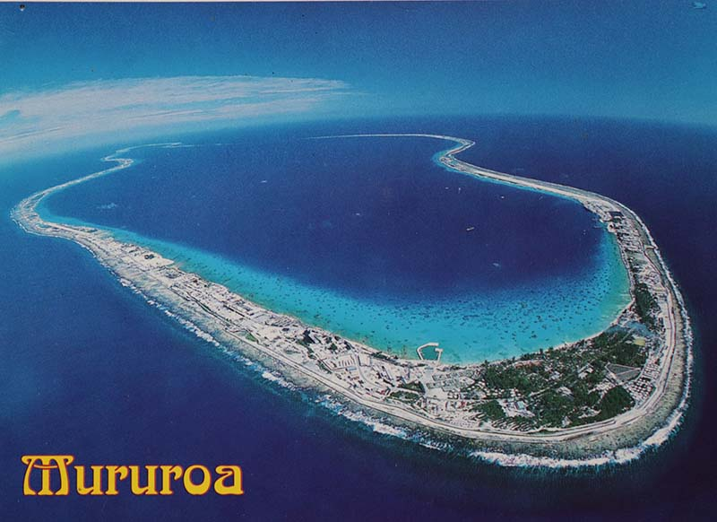 15 November 1990 Postcard view of Moruroa Atoll in the Tuamotu archipelago where the French Government detonated scores of nuclear weapons 1966-1996