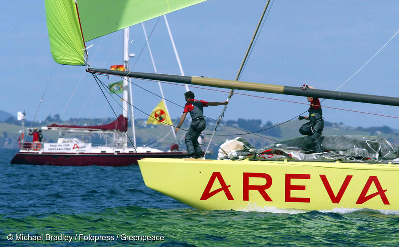 SV Tiama (at left) protesting against the sponsorship of an America's Cup Race team by the French nuclear giant Areva, Auckland, October 2002