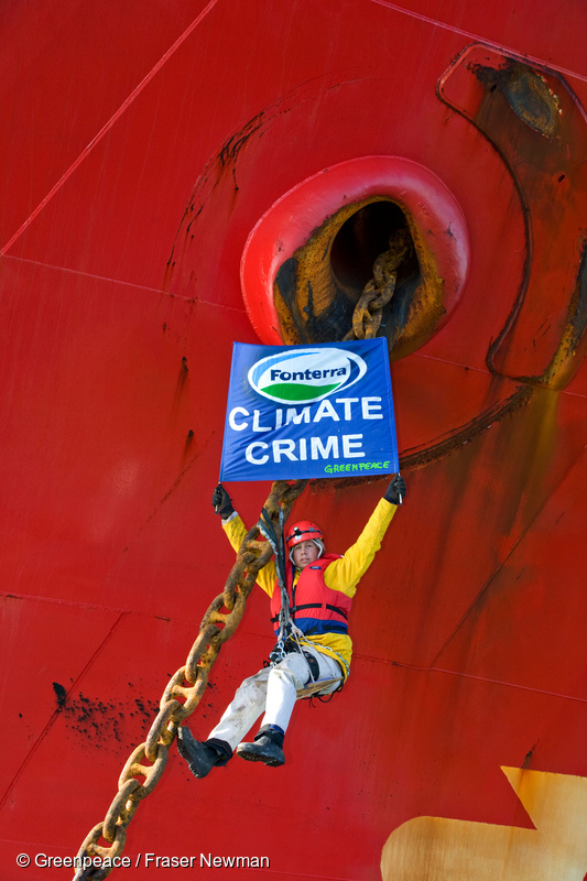 Greenpeace activists block a shipment of palm kernel (PKE) animal feed from Indonesia from entering Tauranga Port, destined for Fonterra dairy farms, 16 September 2009
