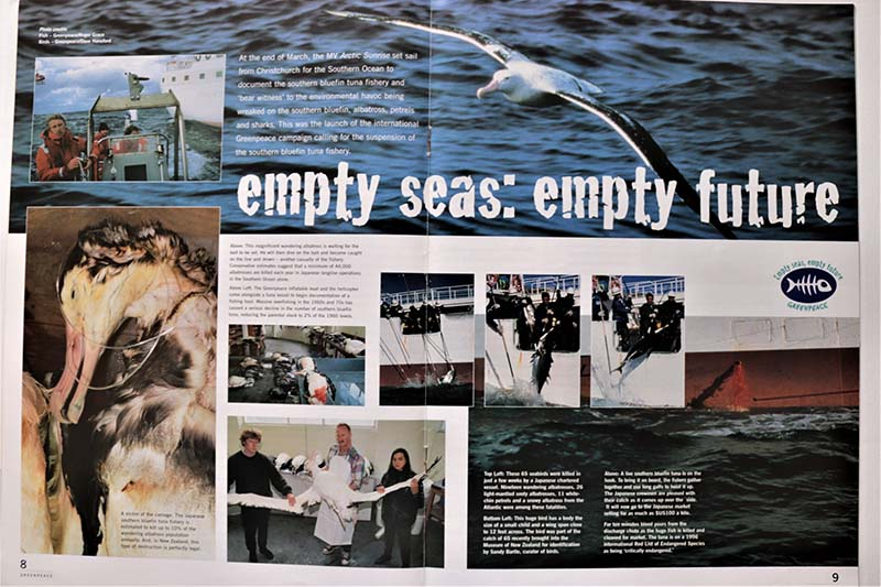 26 March–19 April 1997 Greenpeace's new ice-class ship MV Arctic Sunrise documents the impacts of the NZ Southern Bluefin Tuna fishery on tuna, albatrosses and sharks