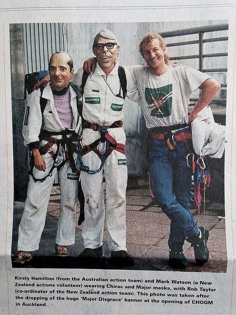 10 November 1995 Greenpeace NZ Actions Coordinator Rob Taylor with Kirsty Hamilton and Mark Watson after the Major Disgrace banner hanging action