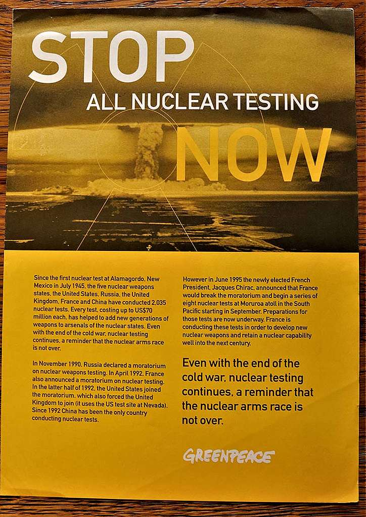 17 April – 12 May 1995 Greenpeace campaign factsheet on the NPT meeting warning that indefinite extension without reforms could spark a resumption of nuclear weapons testing