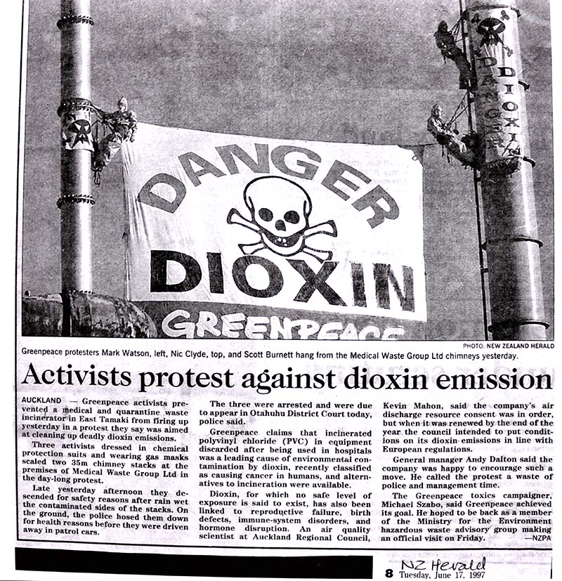 16 June 1997 This report with photo on Greenpeace activists shutting down a South Auckland toxic waste incinerator was published in the NZ Herald