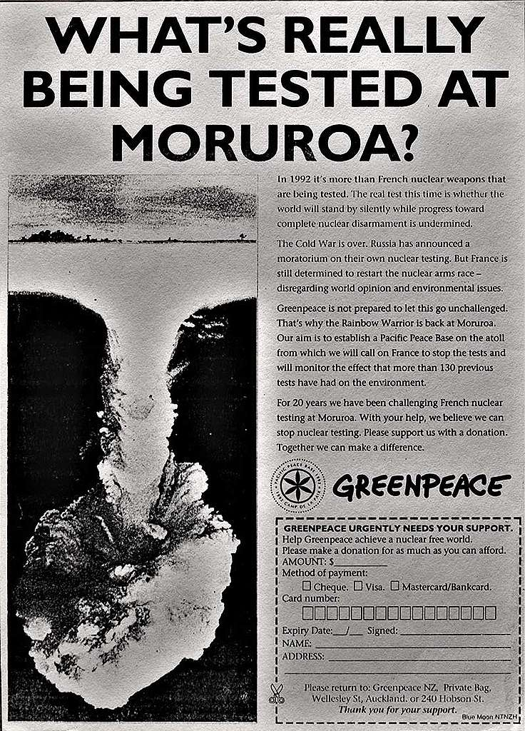 March 1992 This Greenpeace newspaper ad ran in NZ newspapers in March 1992