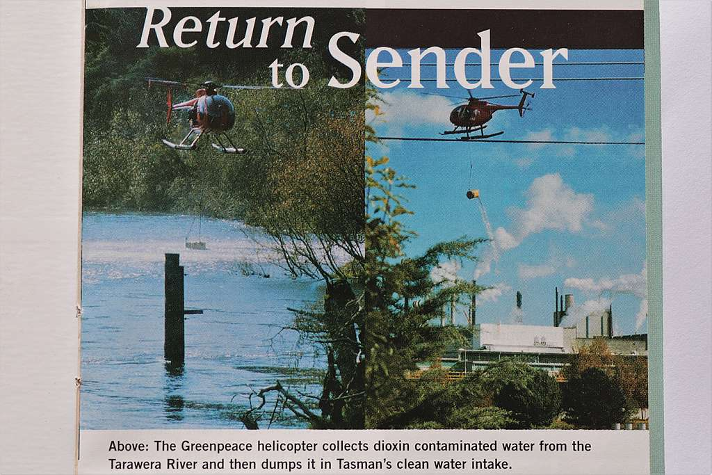 9 May 1997 A Greenpeace helicopter dumps dioxin contaminated river water into the pulp factory clean water intake in Kawerau. Photos by Michael Szabo
