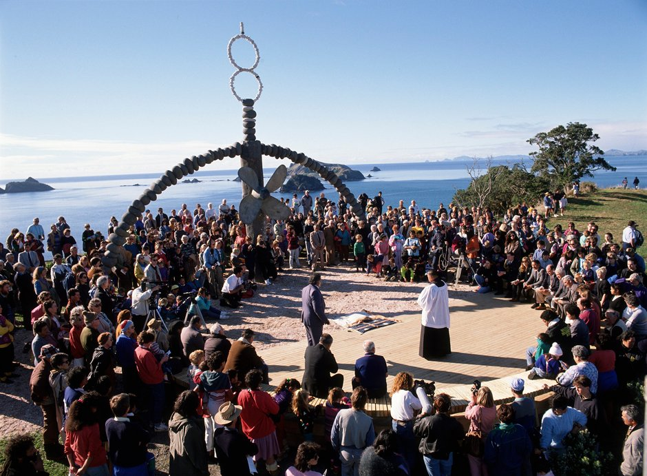 Unveiling the Rainbow Warrior memorial by Chris Booth at Matauri bay in Northland
