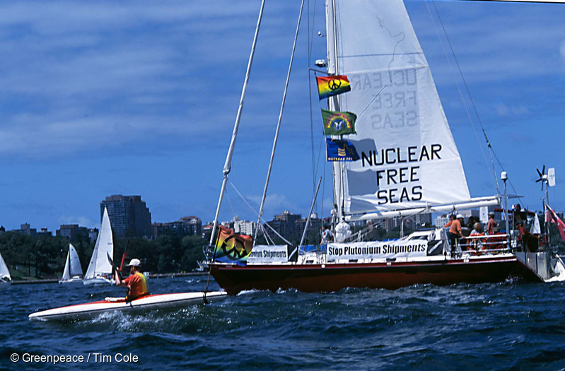 SV Tiama sails out of Sydney Harbour in February 2001 to confront a Plutonium shipment in the Tasman Sea