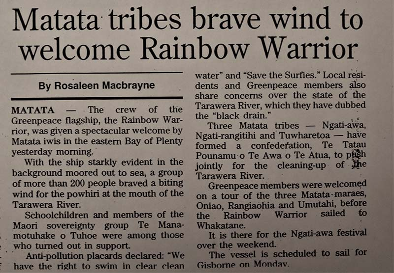 14 June 1996 Hundreds of local people welcomed the crew of SV Rainbow Warrior II on the beach at Matata by the Tarawera River