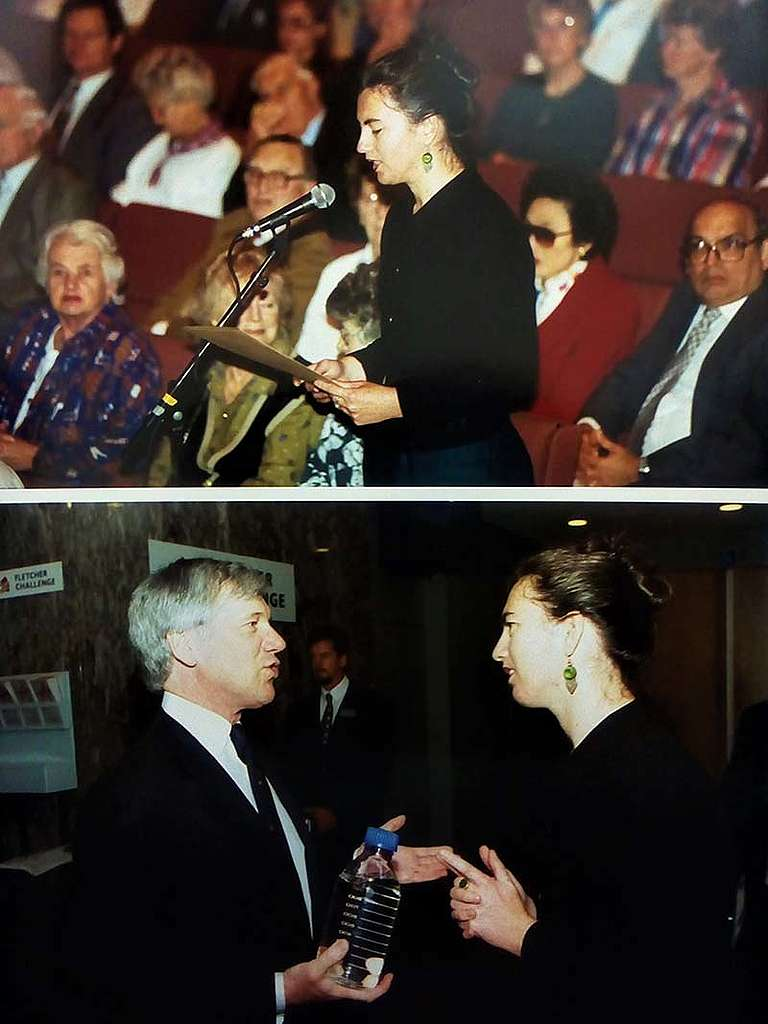 31 October 1996 Greenpeace Campaign Manager Stephanie Mills speaking at the Fletcher Challenge AGM and meeting CEO Hugh Fletcher