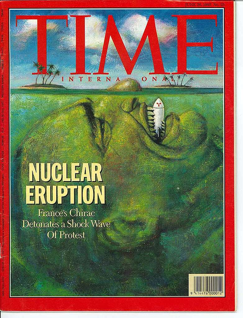6 June 1995: Greenpeace announces SV Rainbow Warrior II will lead protests at Moruora Atoll in Te Ao Maohi/French Polynesia after Jacques Chirac announced the French Government would resume nuclear testing there