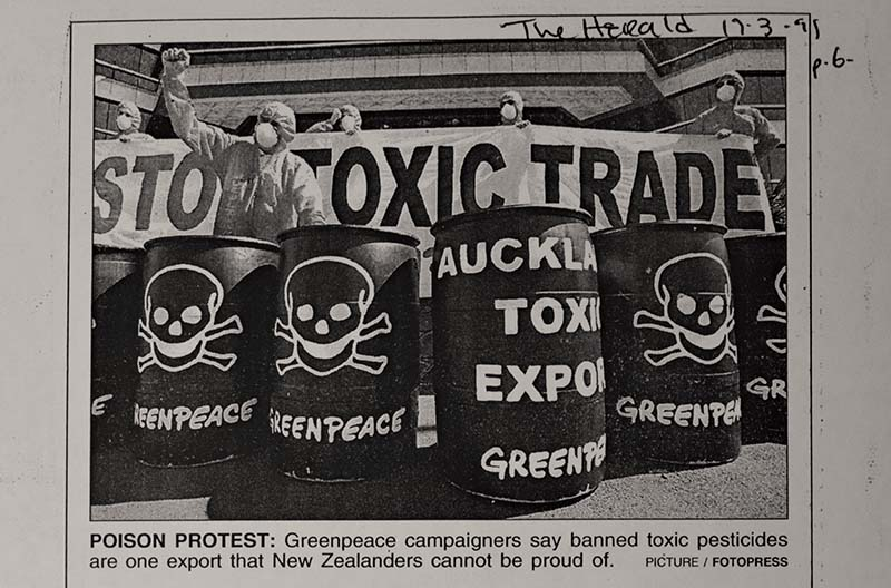March-April 1999 Greenpeace pickets Auckland regional council offices with mock toxic waste barrels  and demands an end to toxic waste exports