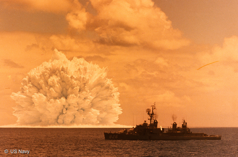 Underwater nuclear weapon explosion of an ASROC missile fired from USS Agerholme in the Marshall Islands in the 1950s