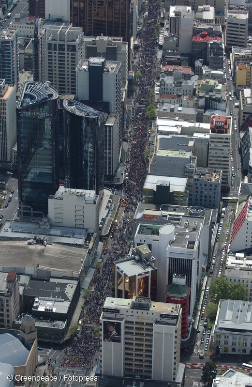 Aerial view of the GE-Free march going up Queen Street in Auckland