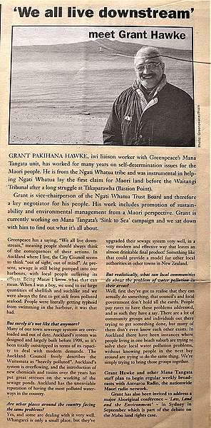 January 1993 This interview with Mana Tangata iwi Liaison Grant Pakihana Hawke was published in the Greenpeace New Zealand members' magazine