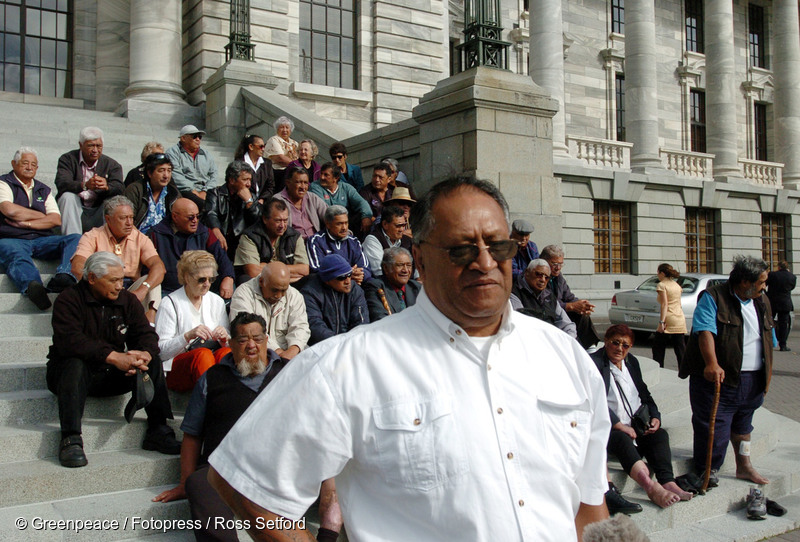 Joe Harawira, chairman of SWAP (Sawmill workers against poison) outside Parliament, Wellington, Thursday, March 10, 2005. SWAP are a group of ex sawmill workers from Whakatane suffering from chemical poisoning who are visiting MP's in Parliament to get support to stop the dumping of toxic waste.