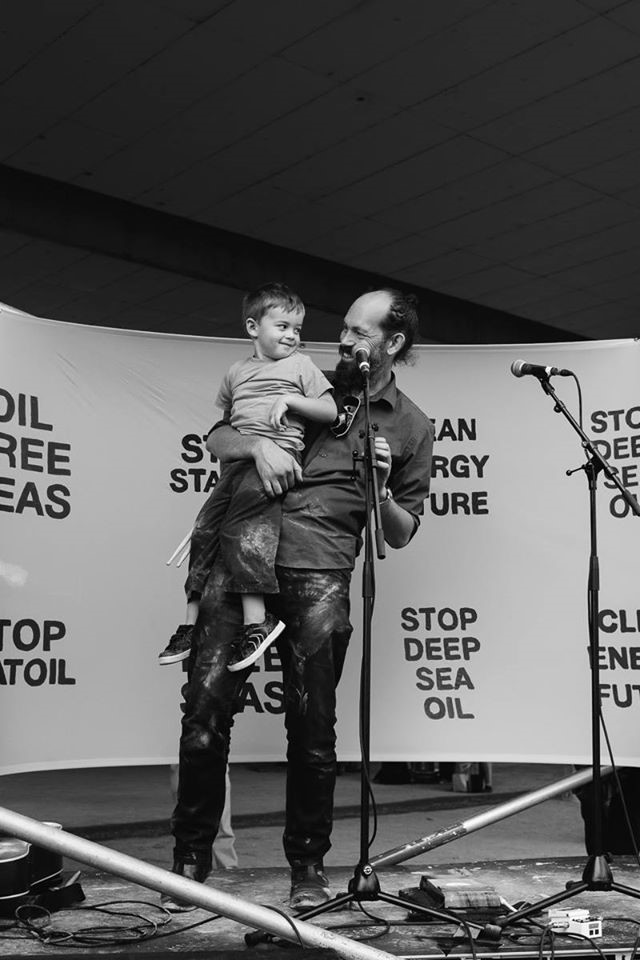 15 February 2014 Steve Abel and his son Quinn at a deep sea oil drilling protest