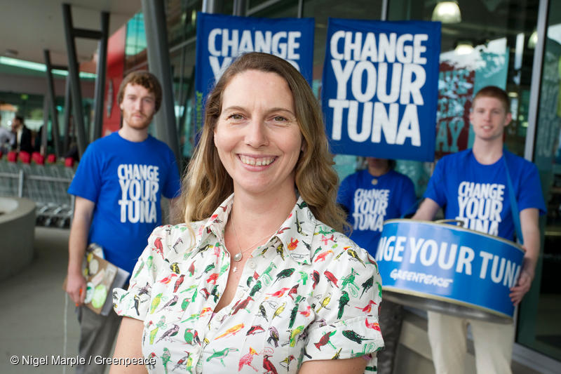 Greenpeace New Zealand Oceans Campaigner Karli Thomas at a'Change your Tuna' event outside an Auckland supermarket on World Oceans Day 2012. Volunteers informed customers about two brands of sustainably caught tuna - Pams and Fish 4 Ever - being sold in New Zealand and offered customers the chance to swap their just-purchased cans of tuna for the sustainable alternatives