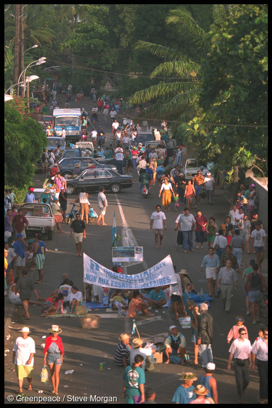 Thousands took to the streets of Papeete to march and block the roads in protest against the planned nuclear tests