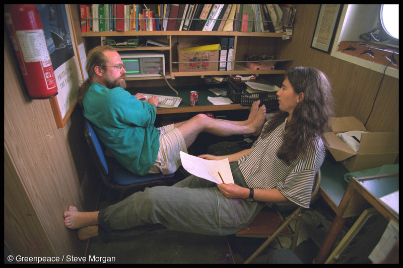Greenpeace nuclear campaigners Steve Sawyer and Stephanie Mills on board SV Rainbow Warrior II en route to Moruroa in 1995