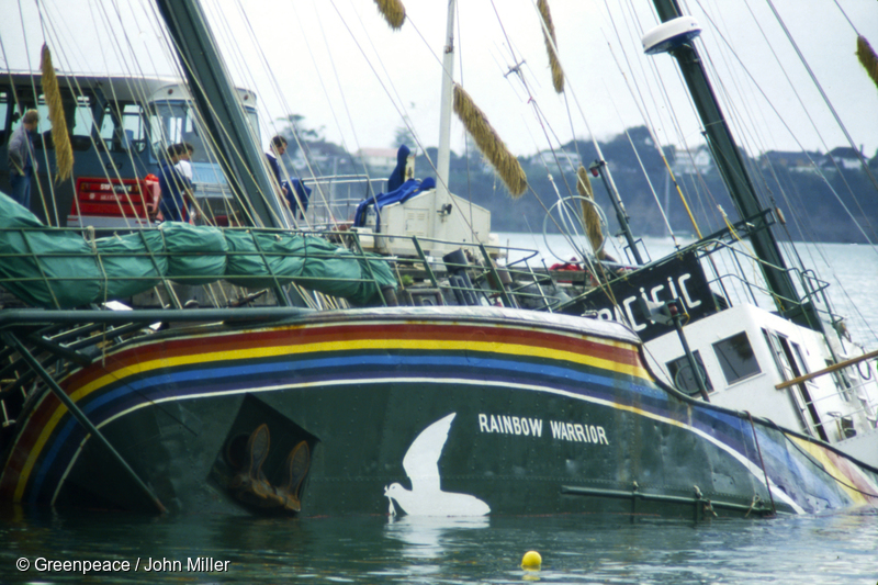 The Rainbow Warrior is in Marsden Wharf in Auckland Harbour after the bombing by French secret service agents.