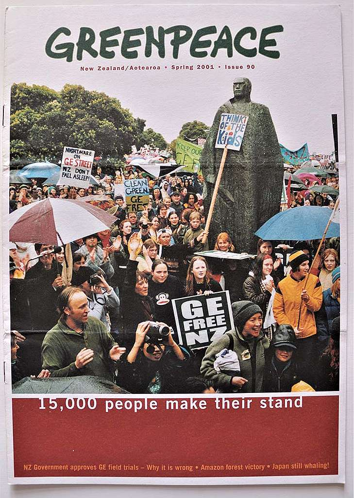 6 October 2000 An estimated 15,000 people join GE-Free Day of Action events in 20 main centres around NZ organised by a coalition of GE-Free groups including Greenpeace