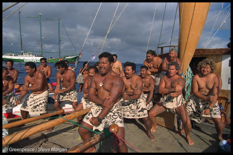The Cook Islands crew of Te-au-Tonga perform a haka against the nuclear tests, seen here flanked by SV Rainbow Warrior II: