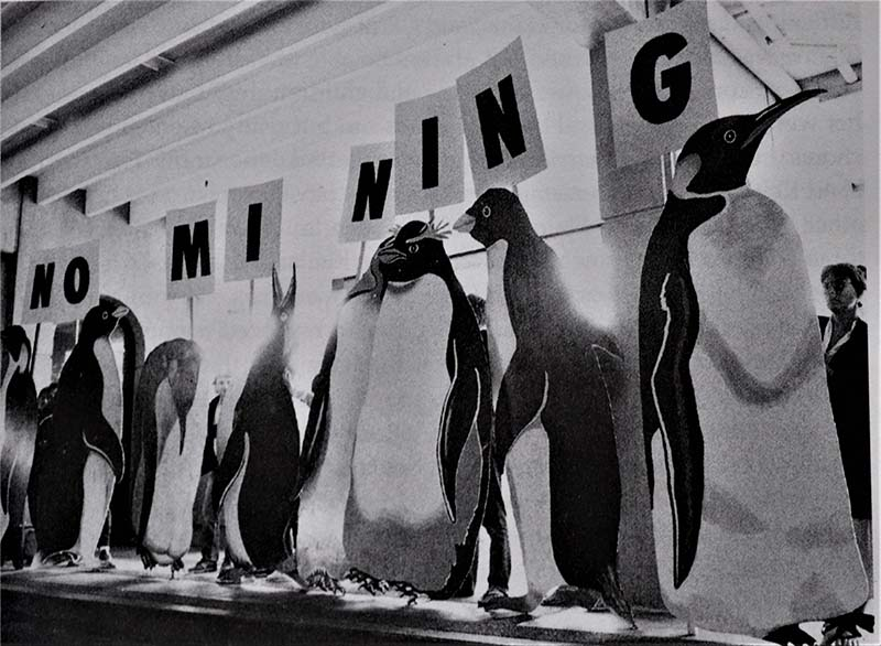 December 1990 -  Greenpeace 'penguins' protest at outside the Antarctic minerals negotiations in Wellington in 1988