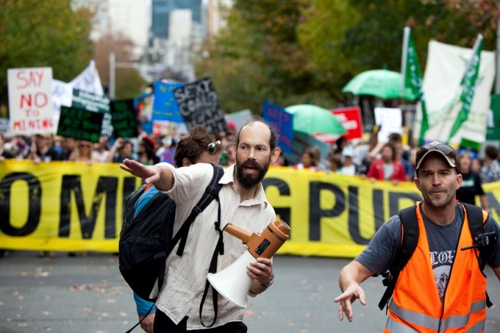 1 May 2010 Greenpeace's Steve Abel and Chris Hay at the March Against Mining in Auckland