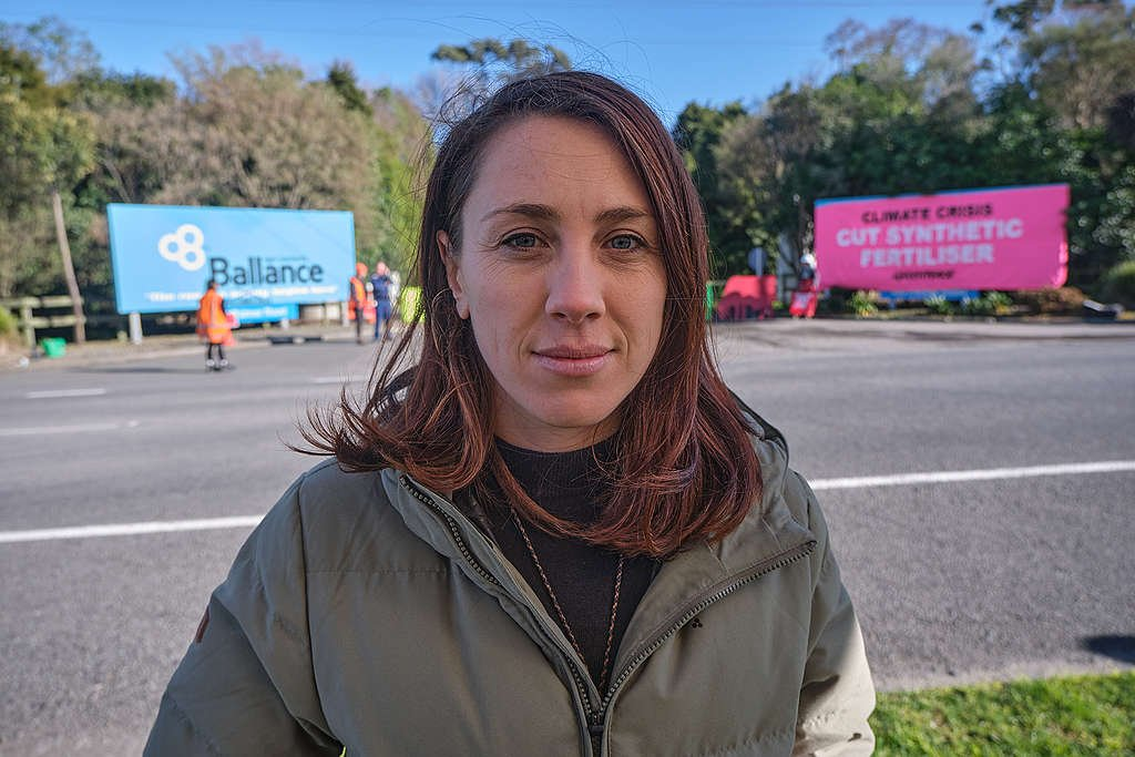 27 July 2020 Greenpeace Agriculture Campaigner Genevieve Toop during a Greenpeace blockade of a fertiliser factory in Taranaki. Photo by Nick Tapp