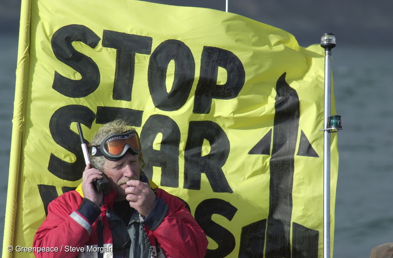Greenpeace Action Coordinator Henk Haazen during a July 2001 action to disrupt a US Star Wars missile test at the US Vandenburg Air Base